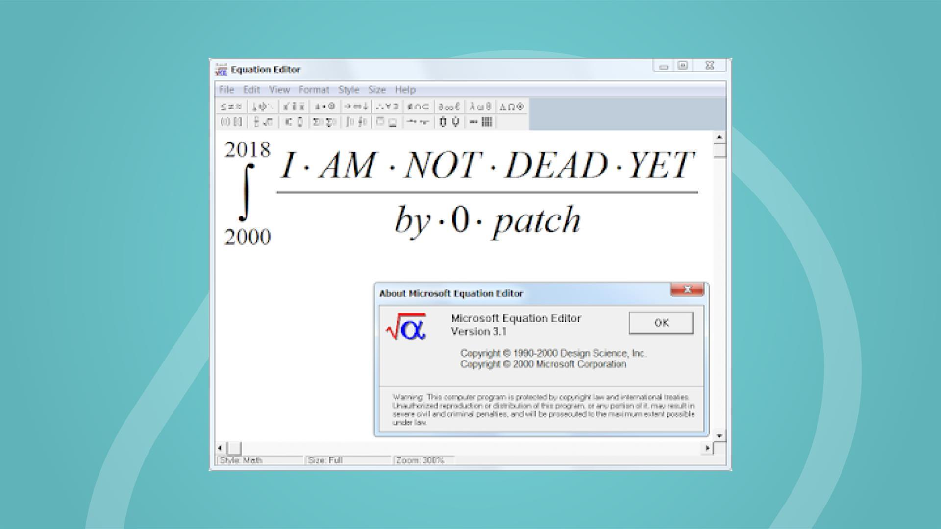 Equation editor: I am not dead yet, by 0patch.